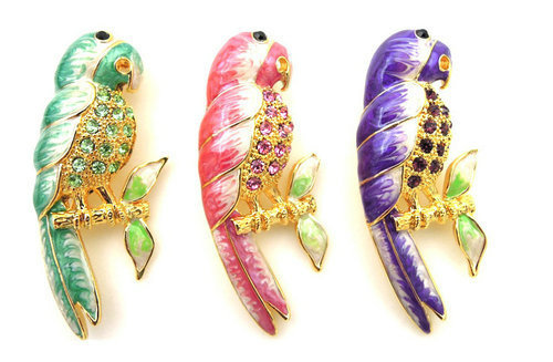 NPR37 - Multi color Parrot brooch with colorful texture enam
