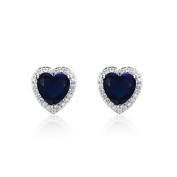 ST2200E - Fashion mystic heart Brass earring with clear CZ s
