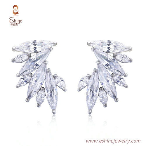 ER3422 - wing look marquise clear CZ stud earring from china
