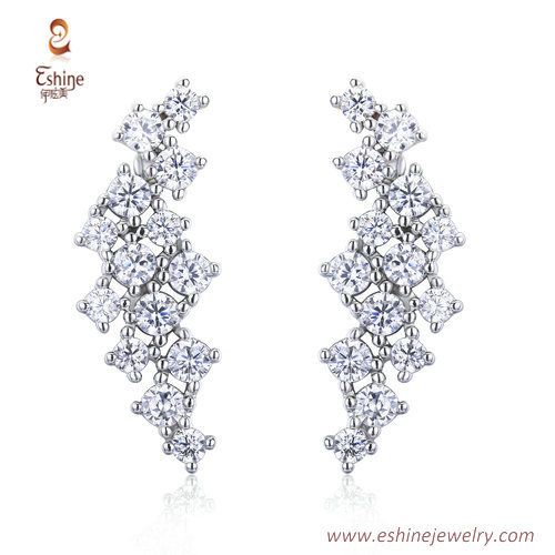 ER3454 - CLEAR CZ white rhodium earring by chinese jewelry m