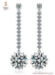 ER3461 - Round diamond dangling earring with white rhodium p