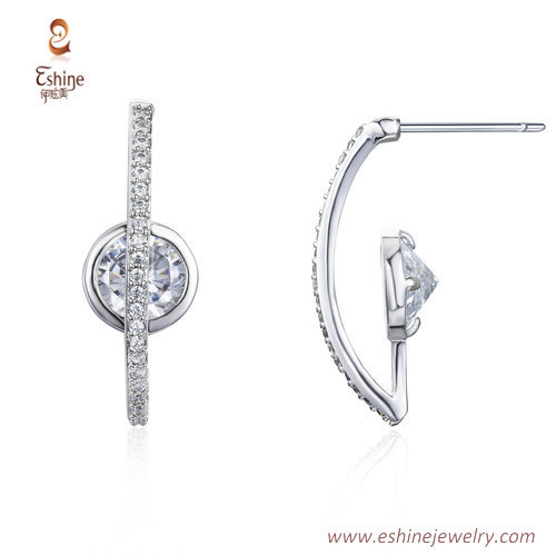 ER3475 - C shape earring  with round diamond & steel post fr