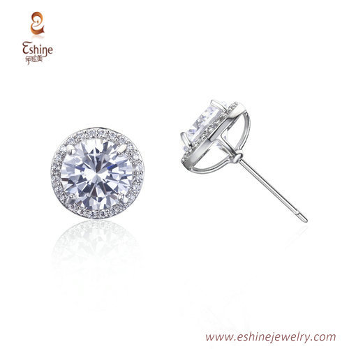 ER3489 - Round clear diamond stud earring with steel post