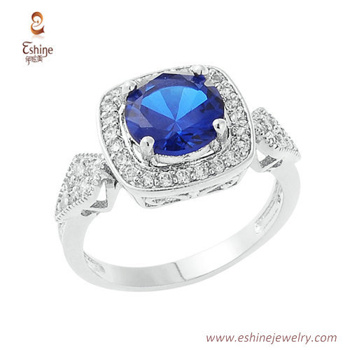RI4052 - Sapphire wedding ring with micropave clear CZ
