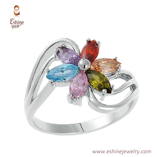RI4103 - Multi color CZ ring with white rhodium