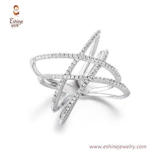 RI4190 - Tiny line style crossover ring with clear CZ