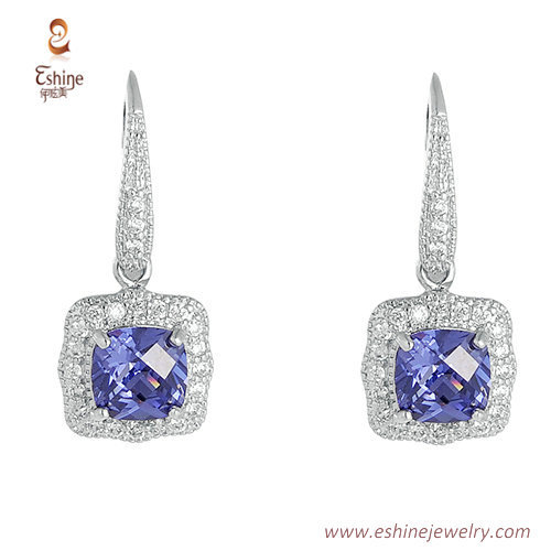 ST1988 -Tanzanite cushion CZ jewelry set from China jewelry