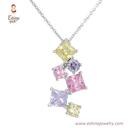 ST2101 - Multic color jewery set with colorful CZ & white rh
