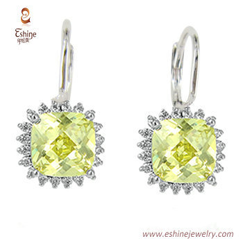 ST2128 - Square shape jewery set with citrine CZ & white rho