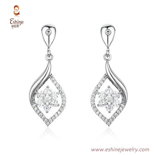 ST2134 - Marquise shape jewery set with clear CZ & white rho