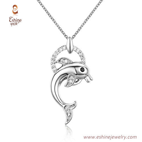 ST2137 - Dolphin jewery set with  clear CZ & white rhodiu pl
