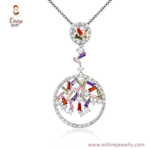 ST2178 - Round shape multic color bangutte cut Cubic zircon
