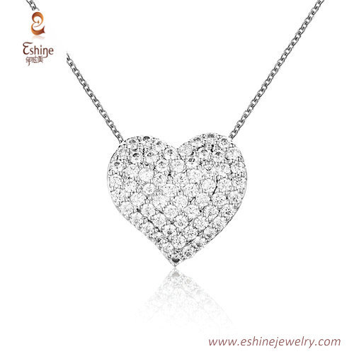 ST2188 - Heart shape micropave clear Cubic zircon jewelry se