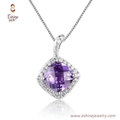 ST2191 - Checkboard cut Amethyst Cubic zircon jewelry sets w