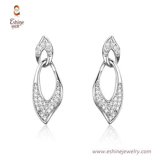 ST2197 - Hollow leaf shape Clear Cubic zircon jewelry sets w