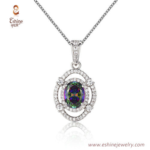 ST2198 - Oval shape oval cut   mistic color Cubic zircon jew