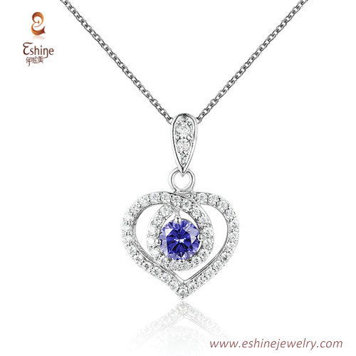 ST2199 - Heart shape round cut ruby  Cubic zircon jewelry se