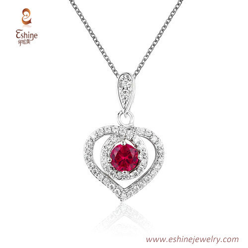 ST2199 - Heart shape round cut ruby  Cubic zircon jewelry se