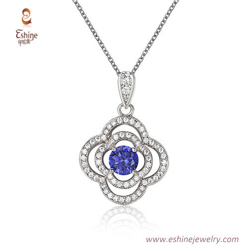 ST2203 - Wave style  round cut sapphire Cubic zircon jewelry