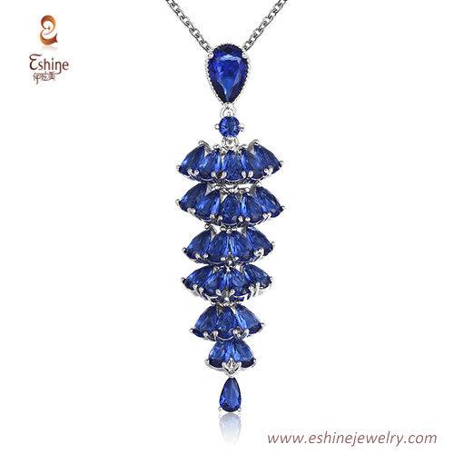 ST2213 -  waterfall style pear cut Sapphire Cubic zircon jew