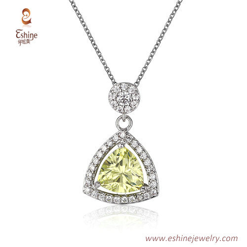 ST2228 - Trillion cut Citrine Cubic zircon jewelry sets with