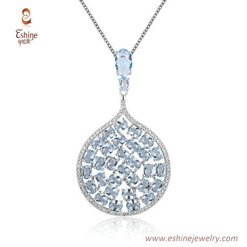 ST2235 -  Drop Aqua Cubic zircon jewelry sets with Rhodium p