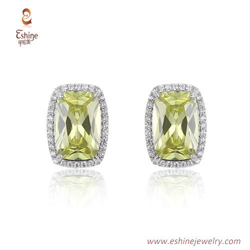 ST2237 - Rectagular cut Olive Cubic zircon jewelry sets with