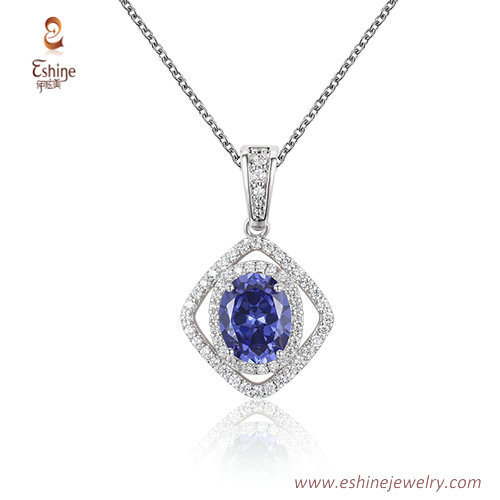 ST2238 -  Oval cut Sapphire Cubic zircon jewelry sets with R