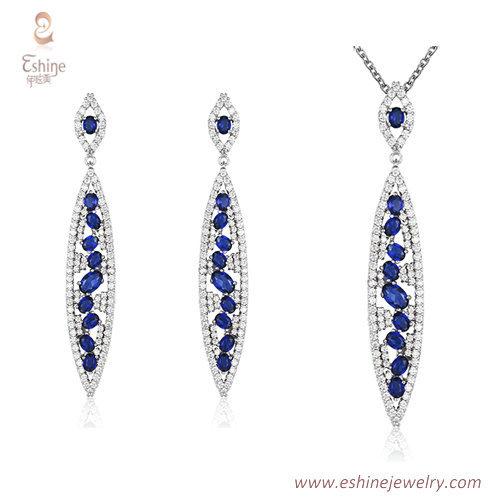 ST2222 -  Oval shape round cut Sapphire Cubic zircon jewelry