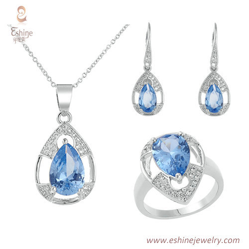 ST1943 - Pear Tanznite CZ jewelry set from China jewelry who