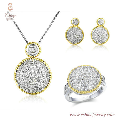 ST1989 -cabocon shape micropave clear CZ jewelry set from Ch