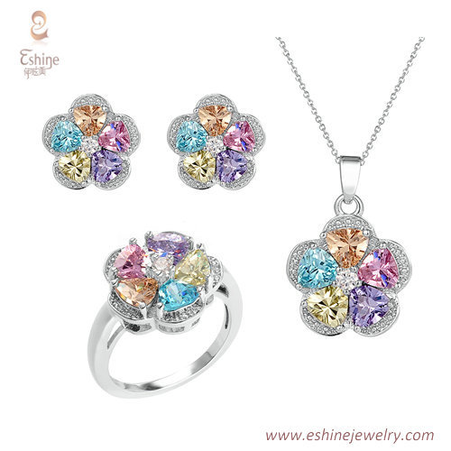 ST2129 - Multi color Jewelry set  with cubic zircon & white