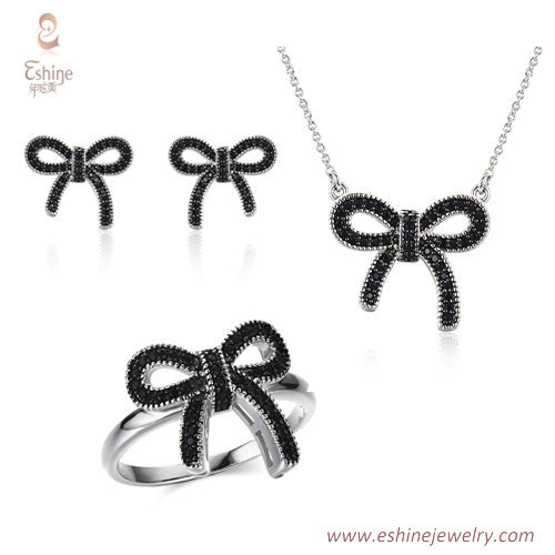 ST2135 - bowtie style jewery set with black & clear CZ & two