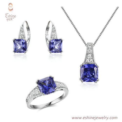 ST2147 - Square shape jewelry set with micropave clear CZ +
