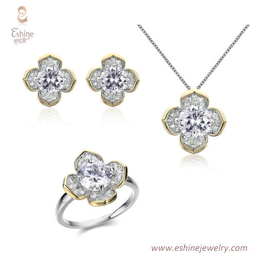ST2148 - 4 CLOVER Blossom shape jewelry set with micropave r