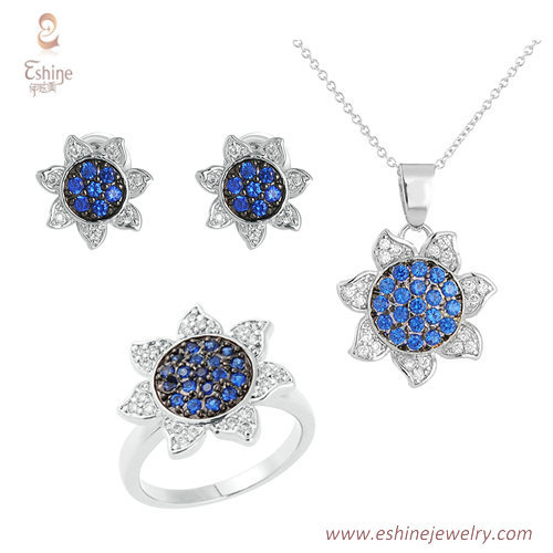 ST2159 - Sunflower style sapphire micropave dangling jewelry