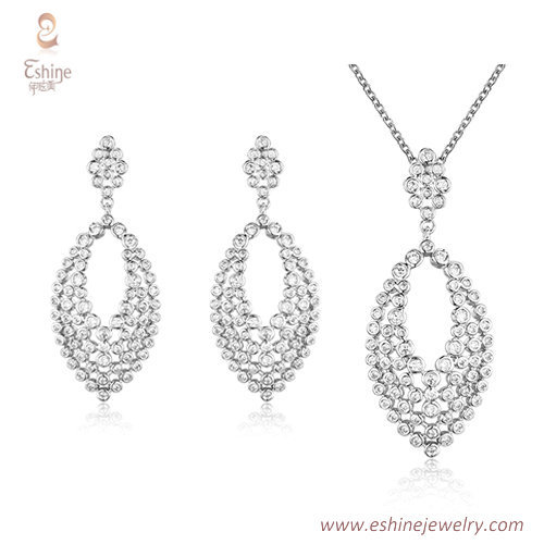 ST2170 - Marquise shape dangling jewelry set with bezel set