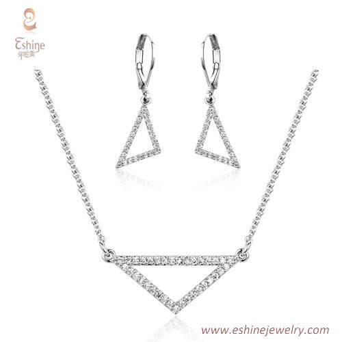 ST2195 - Triangle shape round cut clear Cubic zircon jewelry