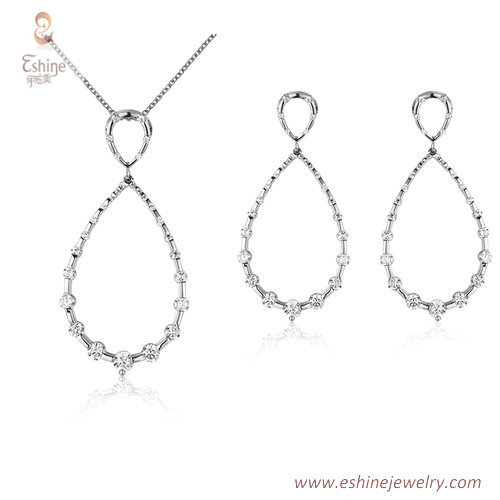 ST2209 - tear drop shape round cut clear Cubic zircon jewelr