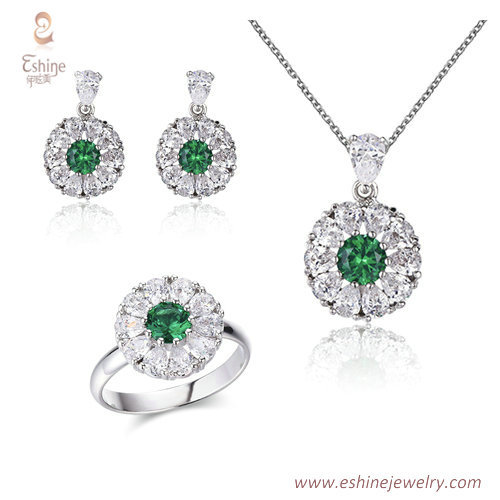 ST2219 - Round shape pear cut emerald  Cubic zircon jewelry