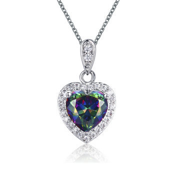 Mystic fire heart pendant necklace with 16inches 1.2mm tiffa