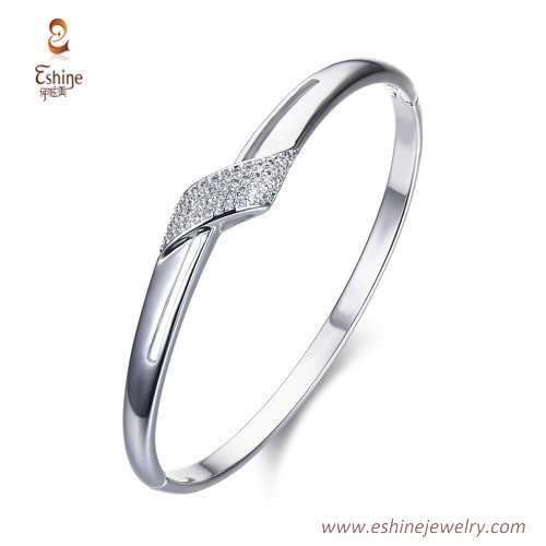 BA1093 - Platitum tone bangle with clear CZ for parties  fro