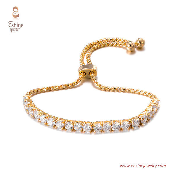 BR3419- Brass tennis bracelet with round clear cz & Rose gol