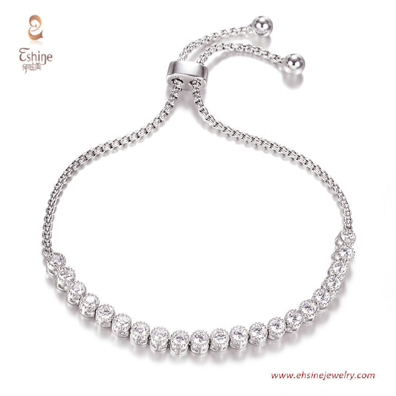 BR3420- Tennis bracelet with round clear cz & Rhodium platin