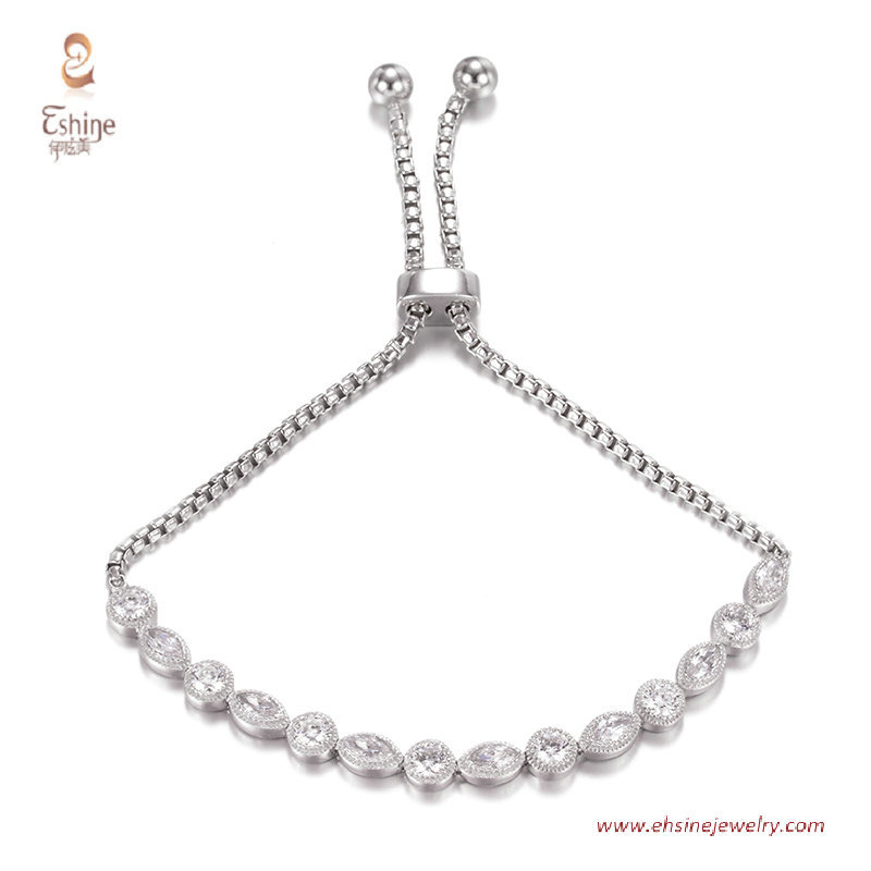 BR3422-  bolo link bracelet with clear cz & Rhodium plating