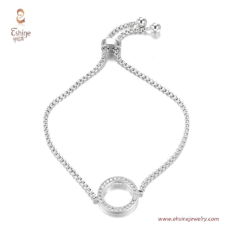 BR3432- round circle bracelett with round clear cz & Rhodium