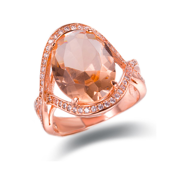 RI4428 - Oval cut MORGANITE CZ large size finger ring with r