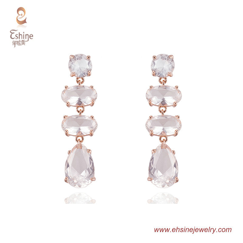 ER3605 - Rose gold dangling earring with AAA Clear Oval cut