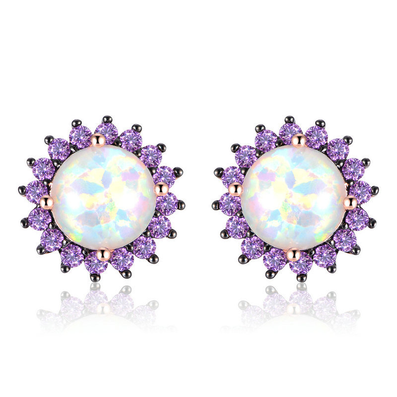 ST2572E RG - hotselling Rose gold stud earring with Amethyst