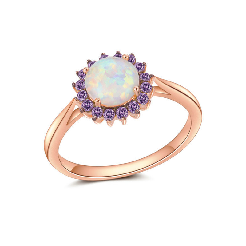 ST2572R RG - Exquisite Rose gold Finger ring with Amethyst C